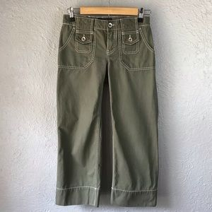 Banana Republic Army Green Wide Leg Crop Pants 0